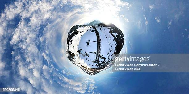360° Aerial View of Winter in Gstaad, Switzerla