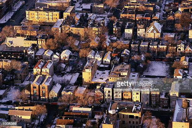 Aerial view of wintry Chicago suburbs