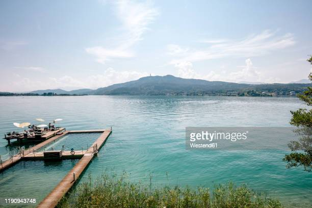 aerial view of woerthersee lake against sky during sunny day, austria - クラーゲンフルト ストックフォトと画像