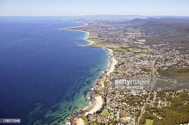 aerial view of wollongong, nsw, australia - wollongong stock pictures, royalty-free photos & images