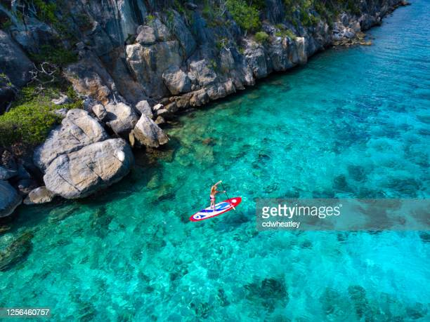 aerial view of woman on paddleboard - antilles stock pictures, royalty-free photos & images