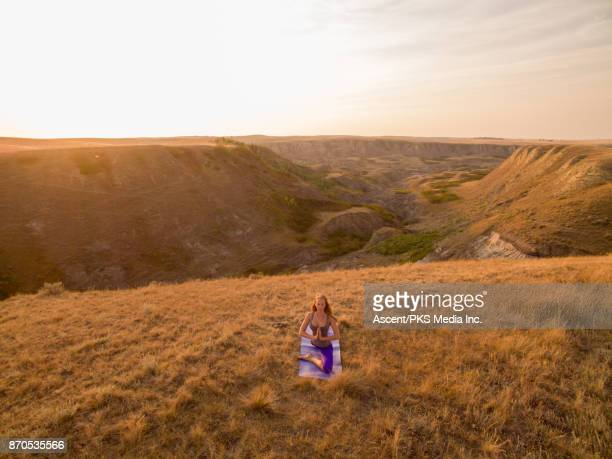 Aerial view of woman performing yoga moves in grasslands