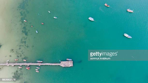 Aerial view of wooden port for fishing boat
