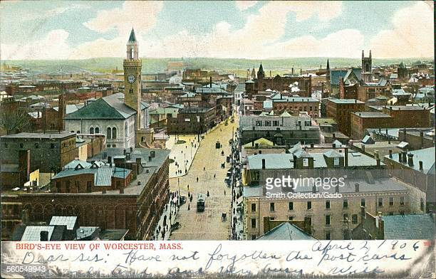 Aerial view of Worcester Massachusetts with street and clock tower Worcester Massachusetts 1906