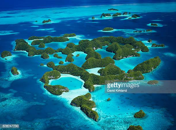 Aerial view of world heritage listed Palau Islands; Micronesia