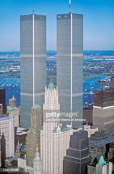 Aerial view of World Trade Towers New York City NY