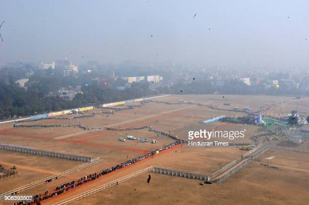 Aerial view of World's longest human chain to create awareness against dowry and child marriage on January 21 2018 in Patna India It is expected to...