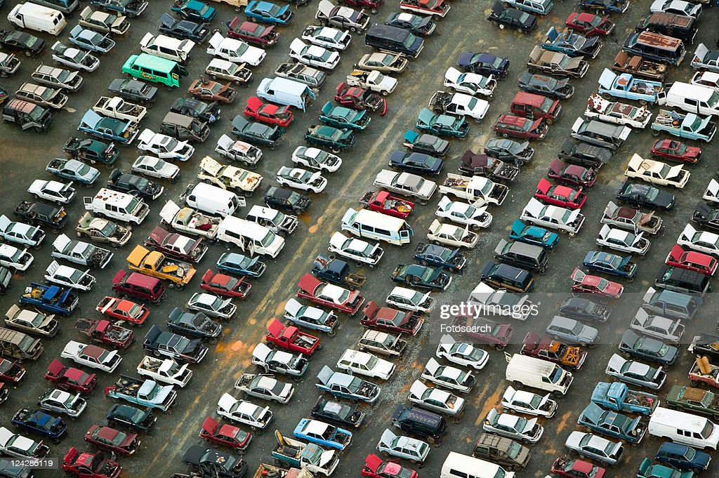 Aerial view of wrecked cars in Charlotte, North Carolina : Stock Photo