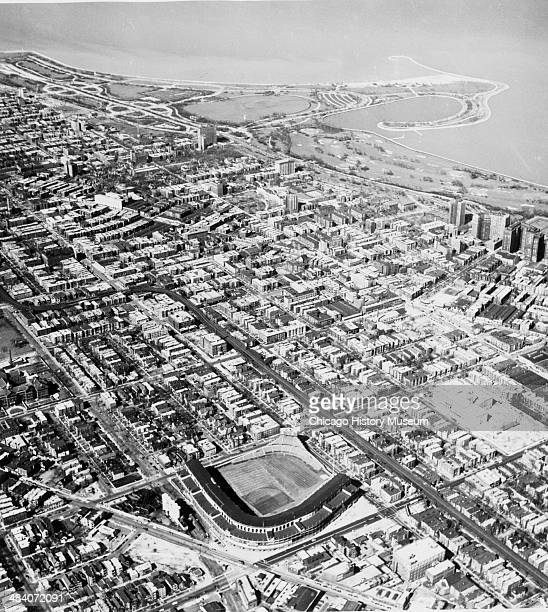Aerial view of Wrigley Field and surrounding areas Chicago Illinois April 26 1951