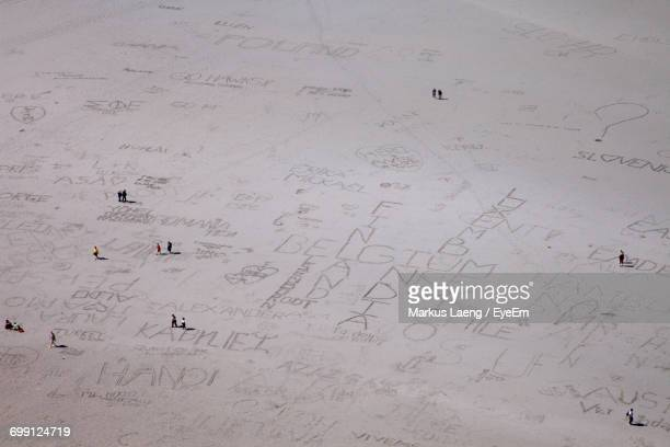 Aerial View Of Writing On Beach