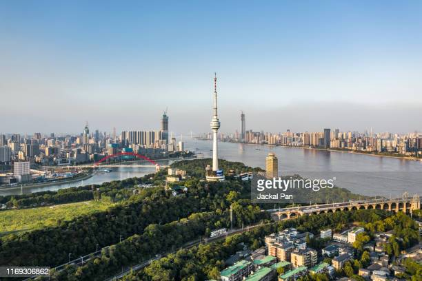 aerial view of wuhan skyline - wuhan stock pictures, royalty-free photos & images