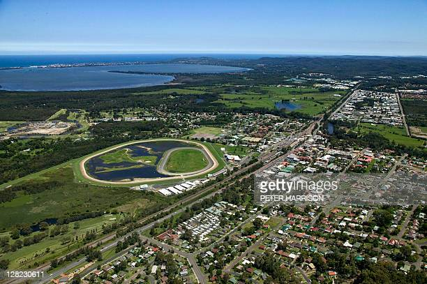aerial view of wyong, new south wales, australia - bundesstaat new south wales stock-fotos und bilder