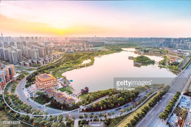 Aerial view of Xian, Shanxi, China