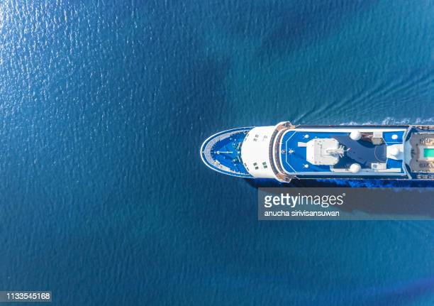 aerial view of yacht sailing on sea, asia, thailand. - 旅客船 ストックフォトと画像