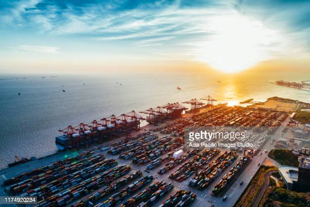 aerial view of yangshan harbor, shanghai, china. - harbor stock pictures, royalty-free photos & images