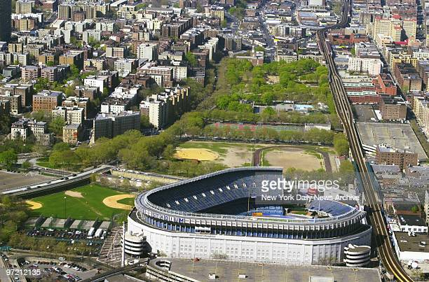 Aerial view of Yankee Stadium with Macombs Dam Park to the north Sources familiar with Mayor Giuliani's plan for a new home for the Bronx Bombers say...