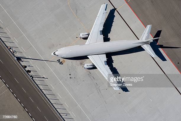 Aerial view of yellow airplane