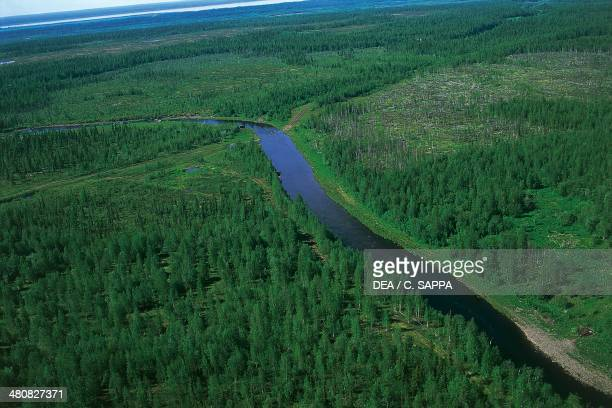 Aerial view of Yenisey River Surroundings of Igarka Siberia Russia
