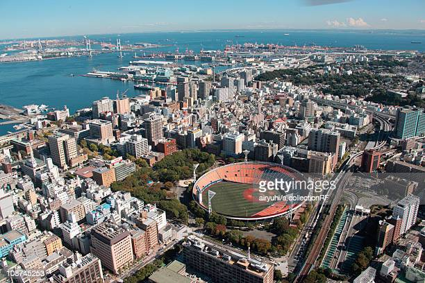 Aerial view of Yokohama City, Kanagawa Prefecture, Honshu, Japan