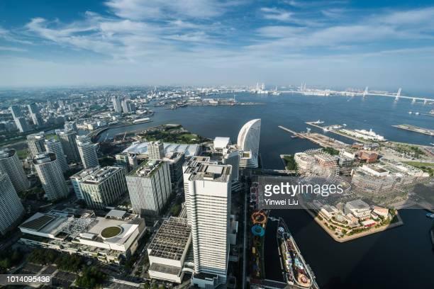 aerial view of yokohama city - 横浜市 ストックフォトと画像