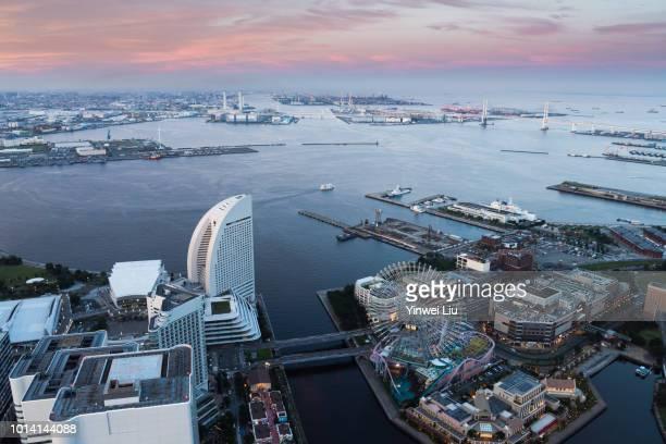 aerial view of yokohama city - yokohama stock pictures, royalty-free photos & images