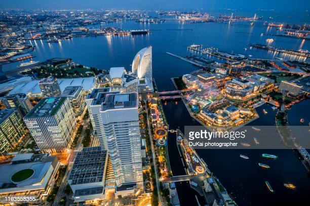 aerial view of yokohama minato mirai 21 - yokohama stock pictures, royalty-free photos & images