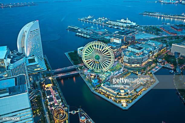 aerial view of yokohama - yokohama stock pictures, royalty-free photos & images