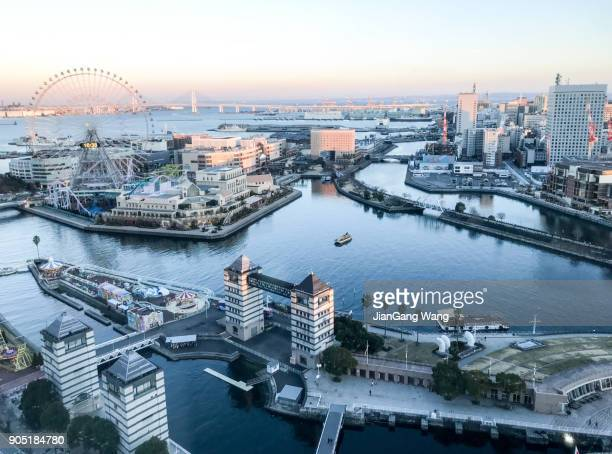 Aerial view of Yokohama seaside during sunset