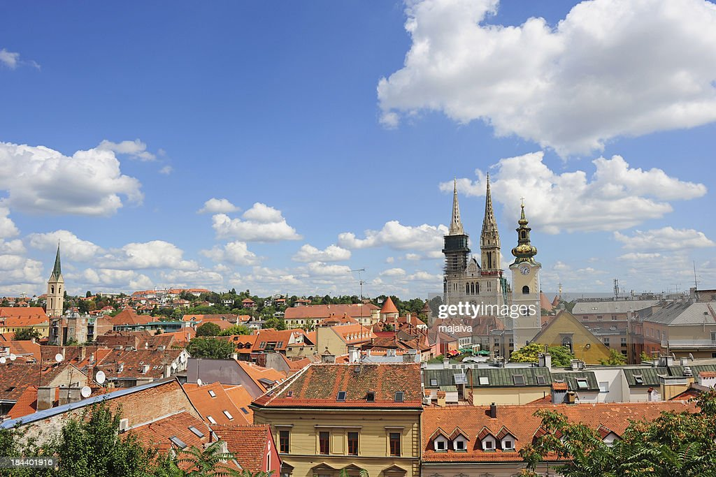 Aerial view of Zagreb city : Stock Photo