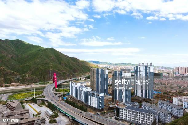 aerial view of zhangjiakou city ( zhangjiakou , hebei , china ) - hebei province stock pictures, royalty-free photos & images