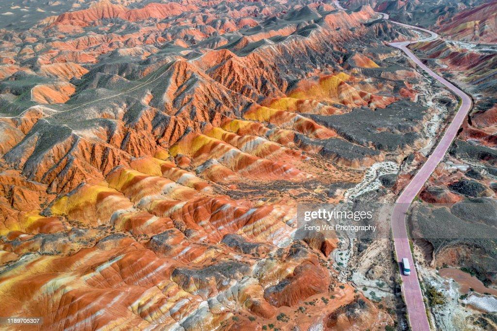 Aerial view of Zhangye Danxia Landform, Gansu China : ストックフォト