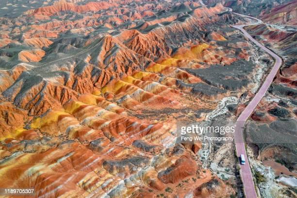 aerial view of zhangye danxia landform, gansu china - 丹霞地形 ストックフォトと画像