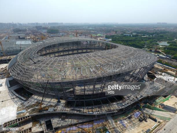 Aerial view of Zhengzhou Olympic Sports Centre Stadium after being capped on May 4, 2018 in Zhengzhou, Henan Province of China. Dubbed as the second...