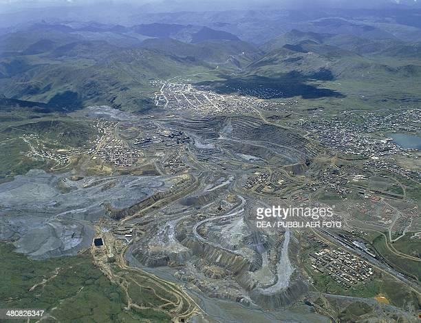 Aerial view of zinc and lead mines at Cerro de Pasco Pasco Region Peru