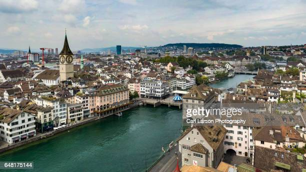 Aerial View Of Zurich And The Limmat River