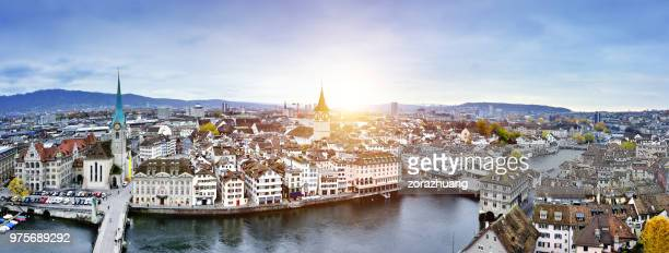aerial view of zurich cityscape, switzerland - zurich stock pictures, royalty-free photos & images