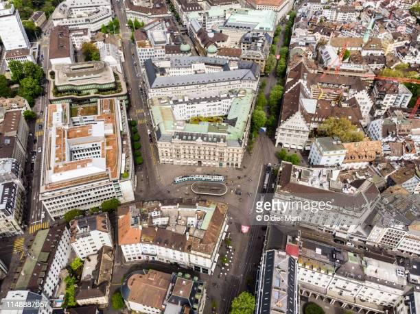 aerial view of zurich parade platz in switzerland - städtischer platz stock-fotos und bilder