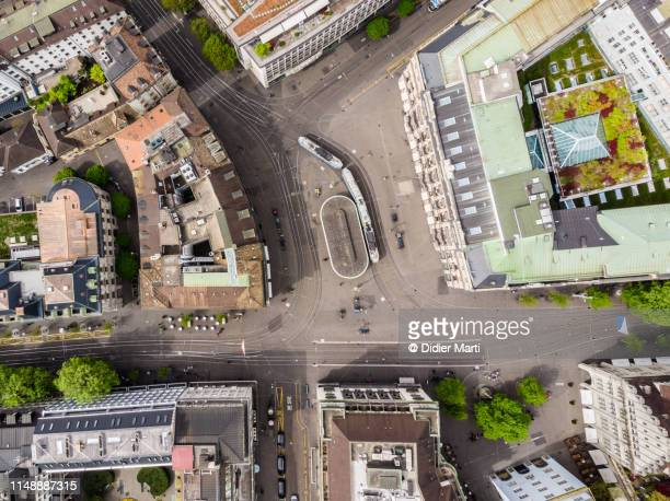 aerial view of zurich parade platz in switzerland - draufsicht stock-fotos und bilder