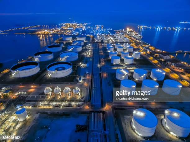 aerial view oil refinery at twilight, thailand.