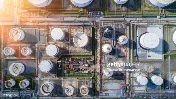 Aerial view oil refinery, refinery plant, refinery factory petrochemical plant