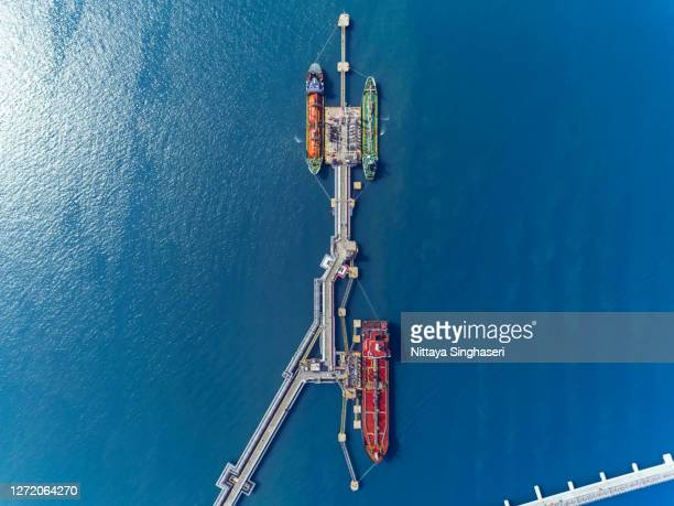 aerial view  oil tankers at oil port. - indonesia logistics ストックフォトと画像