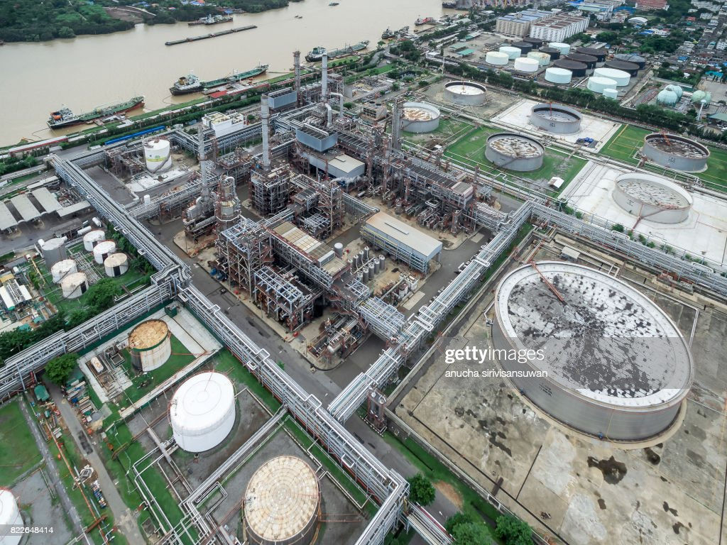 aerial view oil tankers park at the pier oil refinery . : Stock Photo