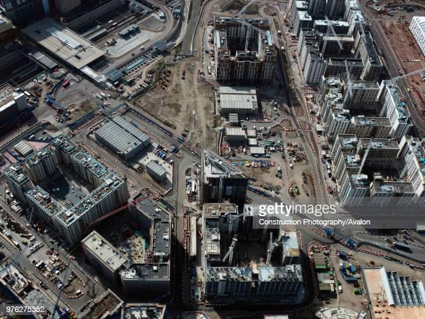 Aerial view Olympic site, London, UK., UK.