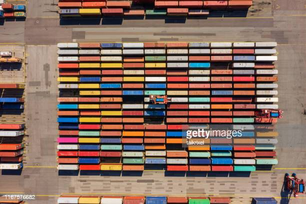 aerial view on a container port, germany - hamburg germany stock pictures, royalty-free photos & images