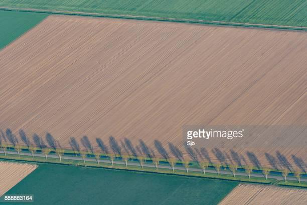 Luchtfoto op abstracte agrarische landschap in Flevoland, Nederland