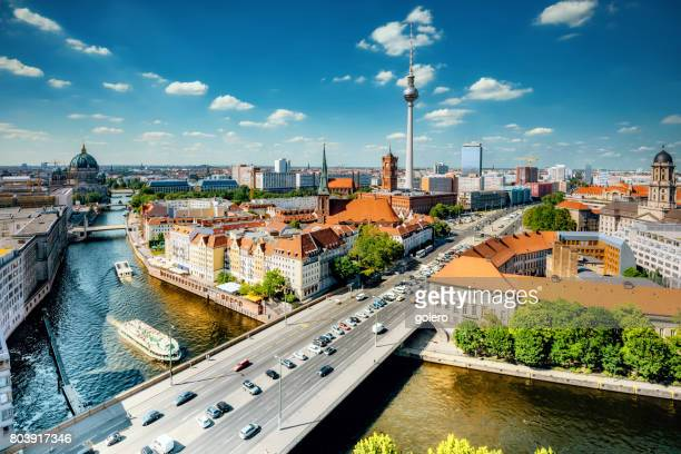 aerial view on berlin with tv-tower and river - central berlin stock photos and pictures