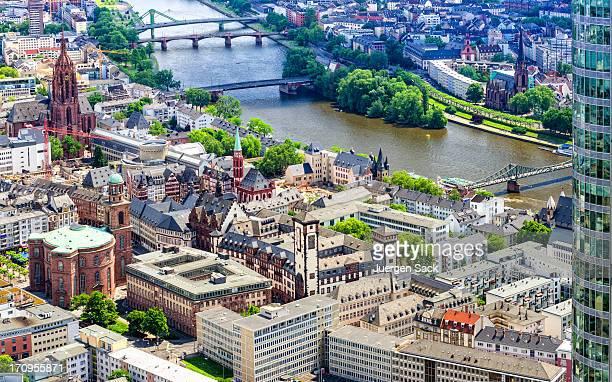 Luftaufnahme vom Frankfurter Römer, die Paulskirche, den
