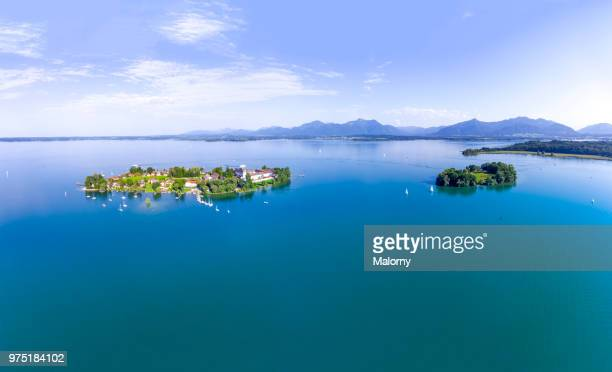 Aerial view on Fraueninsel and Krautinsel, Women's Island at Lake Chiemsee. Chiemgau, Bavaria, Germany