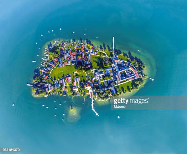 aerial view on fraueninsel, women's island at lake chiemsee. chiemgau, bavaria, germany - insel stock-fotos und bilder
