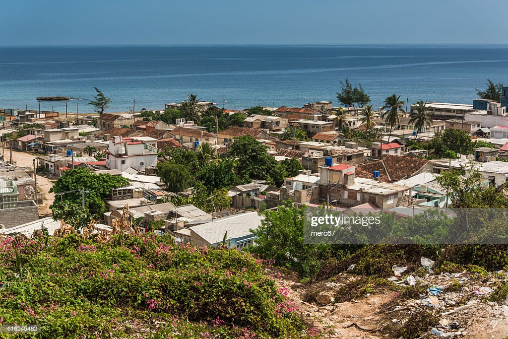 Aerial view on Gibara, colonial city in Cuba. : Stock-Foto